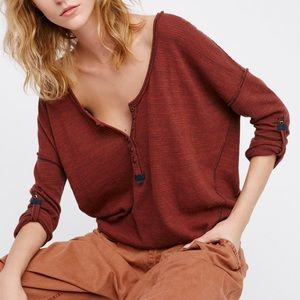 Free People Beach Haven Striped Henley Tee Rust XS